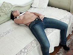 Stacy Snake with giant jugs enjoying great solo session