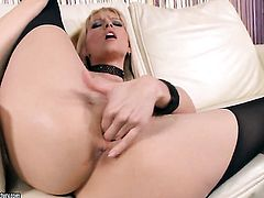 Blonde Sophie Moone is too horny to stop playing with herself