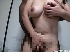 Horny granny getting her natural tits fiddled and her pussy fingered before enjoying being smashed hardcore doggystyle while moaning
