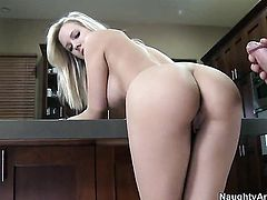 Britney Beth with giant hooters and shaved beaver plays with Charles Deras hard ram rod
