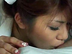 Oriental Nurse Milks Some Guy's love stick Dry onto Her Hands