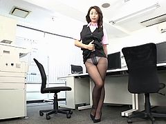 Big tit Asian lass doesn't have time to get naked as her beaver is eaten in the office