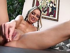 Franziska Facella finds herself horny as hell and takes toy in her love box