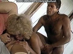Perverted curly blonde vintage slut Amber Lynn enjoy steamy FFM threesome