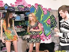 Girls strip down to their panties for money