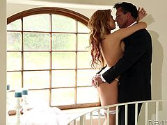 The lucky guy can study every detail of his bride's perfect body, as daylight invades the room. The blonde-haired bitch sensually climbs up the stairs and waits for him. See naughty Dahlia blindfolded and with hands tied, as her partner takes care of the rest... Enjoy the inciting moments.