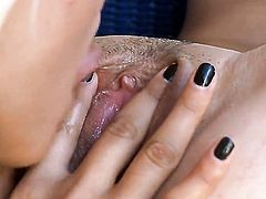 Mara with tiny boobs and clean muff gets her wet hole licked to orgasm by Dakota in lesbian action