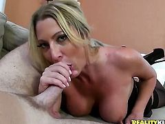 Blonde with huge jugs and bald twat makes a dream of never-ending dick sucking a reality