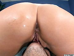 Madelyn Marie with juicy booty gets covered in sticky nectar after sex with horny man
