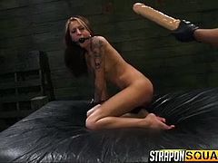 Marina likes to give her girlfriend, Kendra, a taste of some dick-fucking. But this lesbian couple does not involve a boy. Marina puts on a big strap on and shows Kendra, what it is like to be fucked by a man. She also has a huge dildo, which she ties on the other end of a stick and shoves in Kendra's sexy pussy, that is screaming for some action.