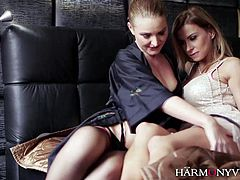 Beautiful lesbian duo Dorothy And Snow Angel slowly caresses each other