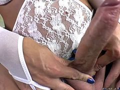 julie has a massive lady cock that she loves to flash