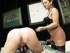 Blonde Mireira with giant tits gets her mouth fucked good and hard