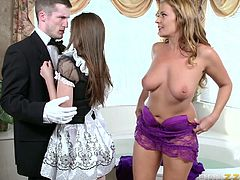A horny milf surprises her partner, while the slutty long brown-haired teen, who works there as a house keeper, surpasses her attributions and offers an unforgettable blowjob. See the blonde wife undressing and playing with her lusty cunt. The level of adrenaline rises, so stay tuned to enjoy the scenes!