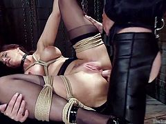Syren has her sexy self down in the dungeon and tied up. Ropes around her legs, clothespins on the nipples of her enormous tits, vibrator on the clit of her hairless pussy and a hard cock ramming her tight asshole. She moans and screams with delight, as her back door is filled with every inch he has.