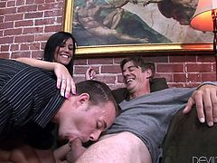Sexy dark haired babe is having a hardcore threesome with her husband and another guy, and both of these cocky fuckers are horny cock-suckers too! Tasia has no complaints about that as long, as she is getting her slutty wet pussy treated well. Let's see how she gets fucked after these awesome threesome oral.