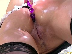 It is obvious that a bitch wants to get banged, especially when she dresses up with sexy lingerie, kinky stockings and wears high heels. All in slutty Syren de Mer's appearance breaths an erotic air. The provocative brown-haired lady exposes her wet oiled ass with nonchalance. See her fucked hard in the ass.