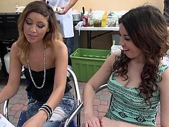 Girls often have great fun, when participating at kinky challenges, promoted by reality shows like this one! Click to watch a slutty babe, that was chilling at a table on a terrace. The sexy proposal sounded good, so she followed her interviewer in a room. See the lady undressing and sucking cock for money!