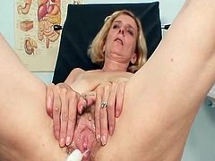 Aged Blonde Learner mom have her fleecy fuzzy wuzzy examinated not far from various gyno tools by pervy lousy gyno doctor