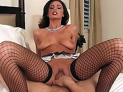 Charming long haired brunette Whitney Westgate looks great in her fishnet stockings worn with garter belt. She exposes her firm ass as Bruce Venture drills her incredibly tight pussy. Watch lady in lingerie get shagged.