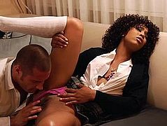Black babe Misty Stone having clothed sex