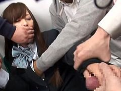 If you fantasize about hot ladies getting harassed in public places, like means of transportation, click to watch a helpless sexy Japanese, used awfully by a gang of angry cocks. She cannot scream or move, while the horny men try to undo her buttons and see her lovely tits and peachy pussy. Enjoy!