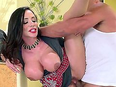 Dark haired sultry MILF Ariella Ferrera with amazing huge boobs gets her dripping wet bush heavily fucked by well hung Toni Ribas. She screams like mad during vigorous pussy pounding,