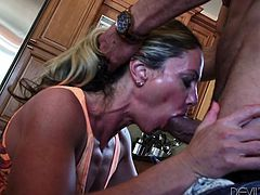 If you are into attractive milfs with huge sexual appetite, welcome to the club! Sydney cannot lose the chance to have fun with her partner and chooses, to offer him an unforgettable blowjob right in the kitchen. This dirty versed blonde bitch looks very tempting, dressed up in a sexy molded short dress...