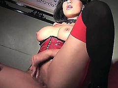 Gianna Lynn is going to tease you with her seductive moves and super hot legs wearing black lingerie as she spits on the dildo and shoves it deep in her vajayjay.