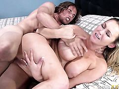Abbey Brooks with juicy tits finds her mouth filled with Tyler Nixons rock hard worm