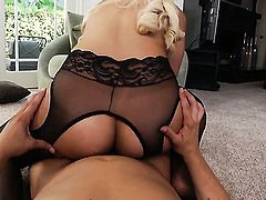 Anthony Rosano pulls out his sausage to fuck fascinating Bridgette B.s love hole