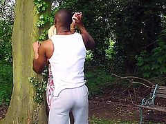 Blonde milf with big tits Georgie Lyall is going to get some interracial pounding by Antonio Blacks massive black monster in a public park as people are taking a walk.