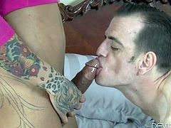 This super hot transsexual babe has a huge black cock and she loves to tub it against her boyfriend's cock. They frot and make out passionately. Watch as this sexy couple sucks hard cock. They love to give blowjobs.
