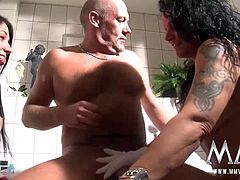 Meli wants to show this couple what a real blowjob looks like so while she deepthroats his hard cock, she massages his balls with a special stimulating glove until he cums in her mouth.