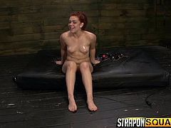 Do you like when girls get wild and do all sort of kinky activities, which bring both pleasure and pain? Slutty Mena Li, Brooklyn and Kimber, begin to play naughty. The game supposes that the foxy redhead gets dominated and ball gagged, while her cunt is fingered deep. Click to see her fucked with strap on!