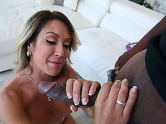 Capri Cavanni, a cougar babe with a giant pair of bossoms. Capri has a monster black cock in her hands and starts to suck it with style.