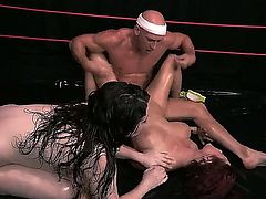 Jessica robbin and her sexy friend in a wrestling match with Johnny Sins. He brings them both down and screws their gaping cunts in the ring.