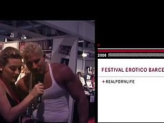 This sexy blonde dance and shows off her cute body on stage, during this adult entertainment expo. Don't you wish you were there with her? She slaps her bum and rubs her wet pussy. Learn about the real life porn these sexy sluts love to take part in.