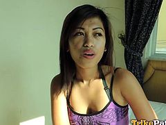 Let this attractive Filipina blow your mind! She quickly takes the decision to follow the horny man in his bedroom, where the atmosphere is already on fire, as she immediately begins to undress. The naked slim babe is just craving for a hard dick. See her masturbating and sucking cock with a flaming desire.