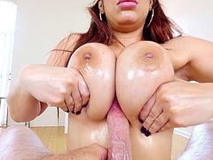 Titty fucking a busty and oily slut and getting his balls sucked