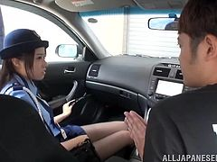 This naughty slut pulls over a driver and when she looks inside the cab, she sees a hunk that she wants to have sex with. Watch as she laughs while teasing him. She will write him up with a ticket, if he does not do as she says.