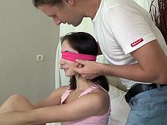 Visit official Trick Your GF's HomepageWith her eyes tied up, sleazy Adel, gets fucked by her guy's best friend during one naughty yet full of lust porn hoax