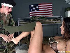 If you've got fantasies with sexy girls in the army, don't hesitate to watch the following inciting scenario! A smokey brunette babe, with gorgeous tits and crazy body, has fallen for her colleague. He doesn't think twice, when it comes to play dirty with her and takes advantage of every moment in her company.