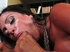 Ariella Ferrera is a hot milf any guy would wanna fuck. But Chad is much luckier than anyone else because he gets to drill her right on the leather sofa.