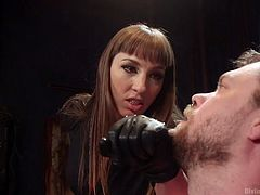Pain and pleasure mix together in a unique blend, meant to bring excitement to another level. Click to watch a crazy mistress, fond of extreme bdsm activities. She is eager to punish her naked slave, by torturing his horny cock. The man is totally helpless in front of this severe bitch!