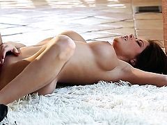 Emily Addison with big tits and hairless muff plays with herself on camera