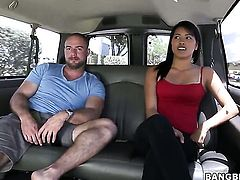 Asian Bang Bus girl Angelina with natural boobs