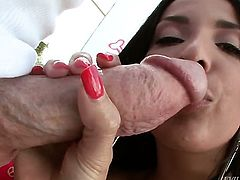 Anissa Kate gets throat banged by dudes rock solid man meat