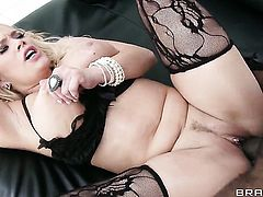 Shyla Stylez with giant knockers gets her throat attacked by Sean Michaelss rock hard ram rod