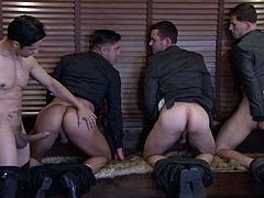 There are four horny man in the room and they all wanna get their clothes off as quickly, as possible! The gay men proudly expose their ripped bodies. Nothing compares to licking an appetizing ass or sucking a delicious cock... See how these naughty boys continue the party!